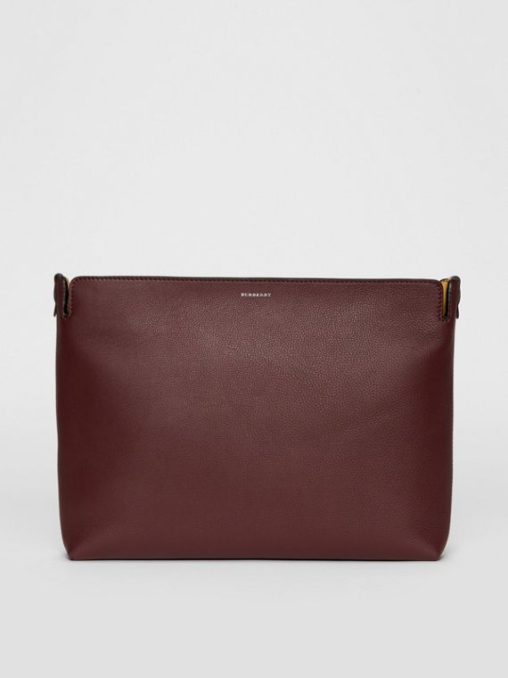 Large Tri-tone Leather Clutch in Deep Claret/dusty Rose