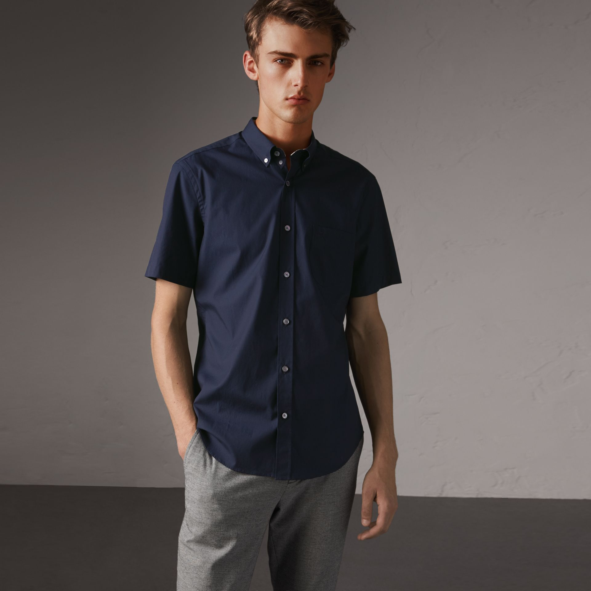 Short-sleeved Stretch Cotton Poplin Shirt in Navy - Men | Burberry - gallery image 0