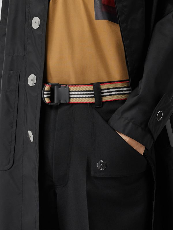 Icon Stripe Double D-ring Belt in Archive Beige - Men | Burberry - cell image 2