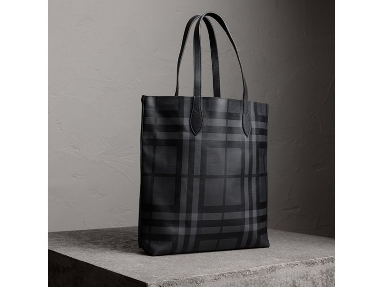 Medium London Check and Leather Tote in Charcoal/black - Men | Burberry - cell image 4