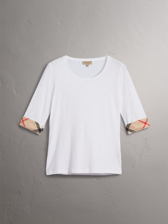 Check Cuff Stretch-Cotton Top in White - Women | Burberry Singapore - cell image 3