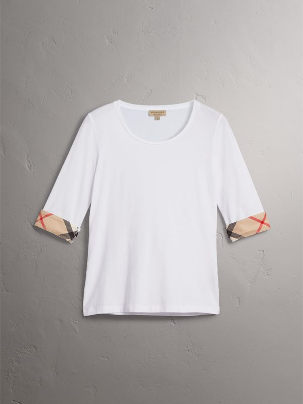 Check Cuff Stretch-Cotton Top in White - Women | Burberry - cell image 3