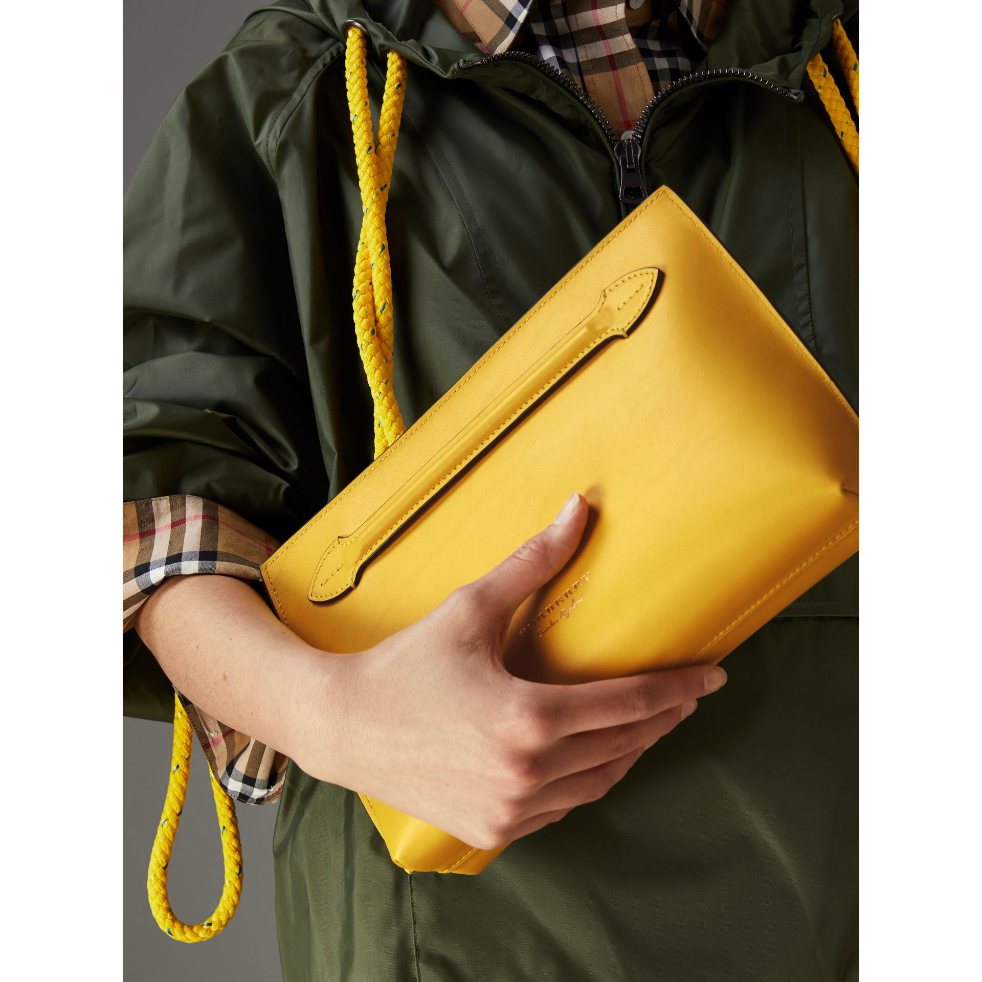 Leather Wristlet Clutch in Bright Larch Yellow - Women | Burberry United Kingdom - gallery image 3