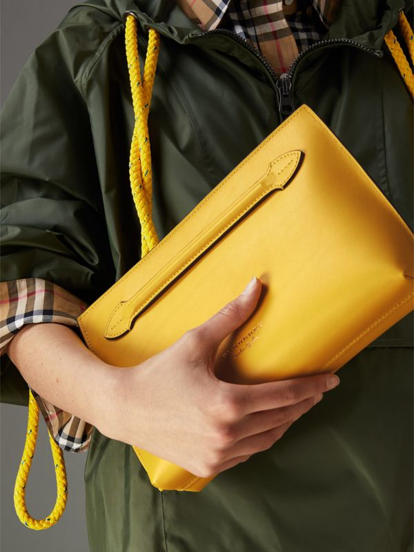 Leather Wristlet Clutch in Bright Larch Yellow - Women | Burberry United Kingdom - cell image 3