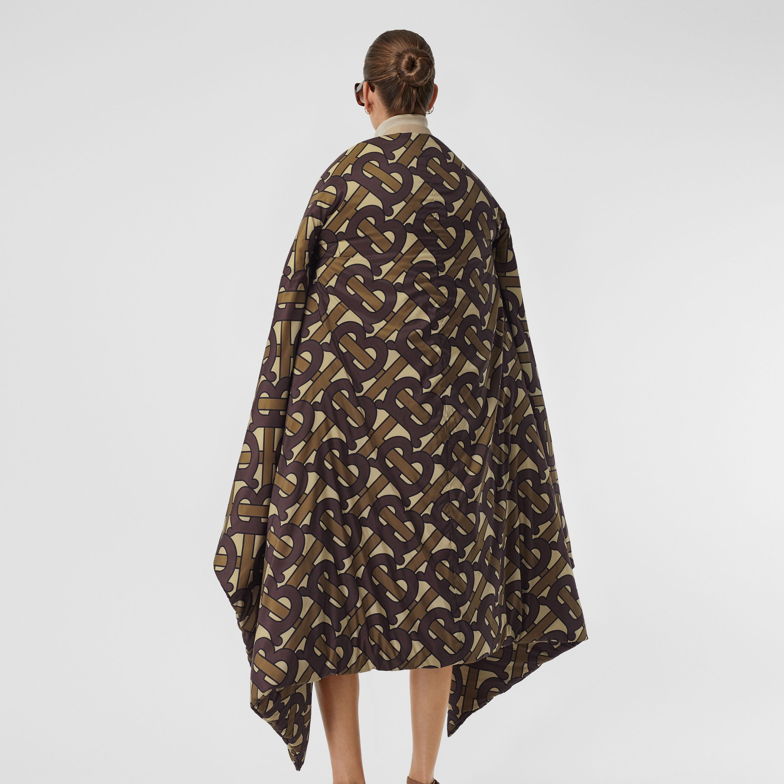 Monogram Print Oversized Puffer Cape in Bridle Brown | Burberry Australia - 2