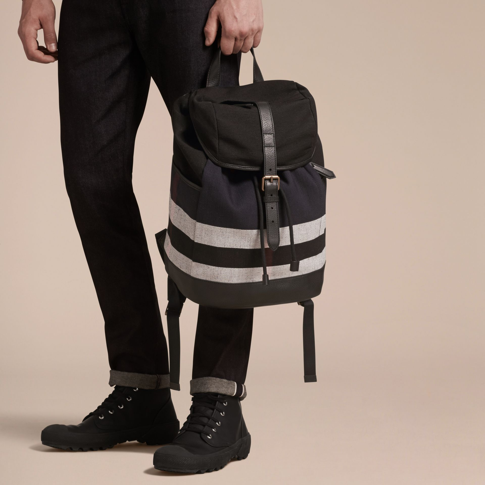 Navy Canvas Check Backpack Navy - gallery image 3