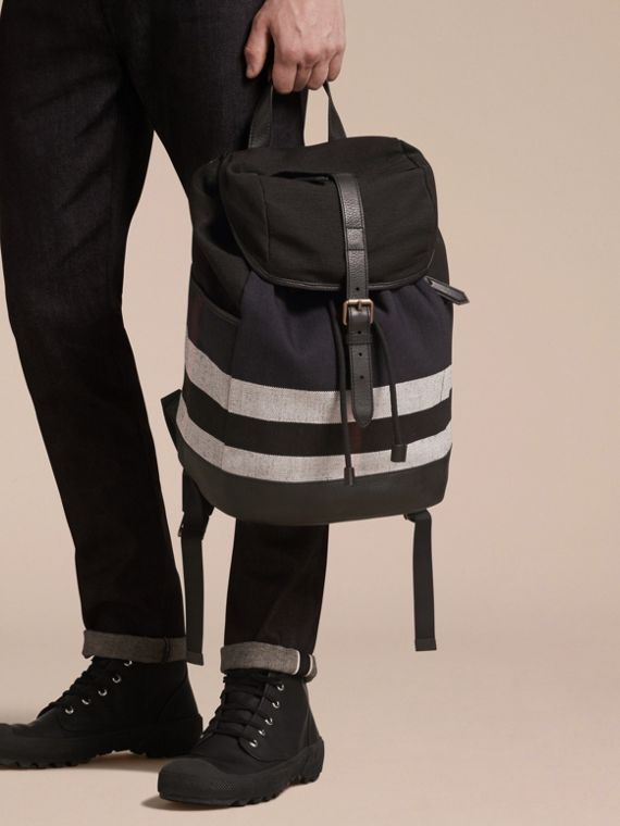 Navy Canvas Check Backpack Navy - cell image 2