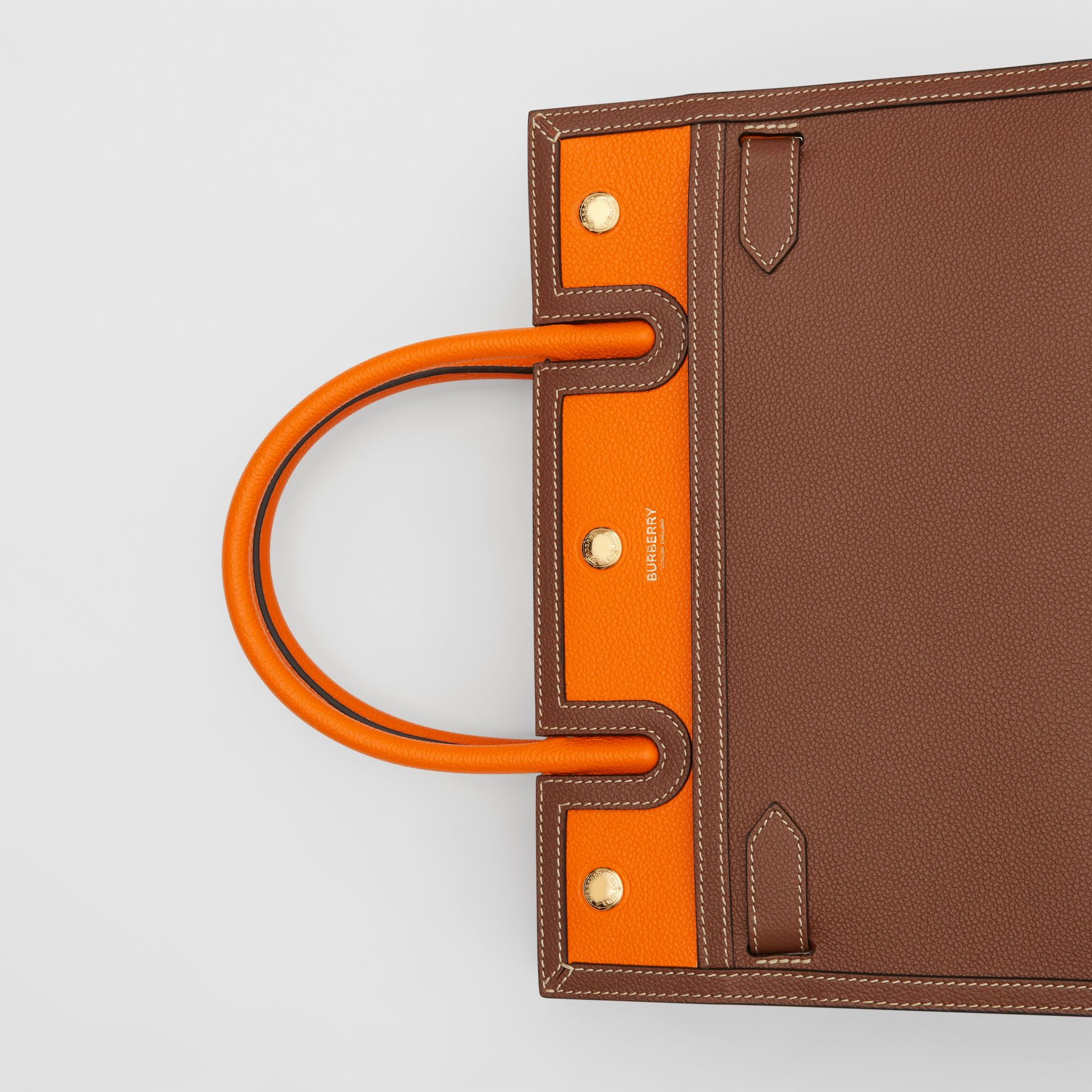 Small Leather Two-handle Title Bag in Tan/bright Orange - Women | Burberry Canada - gallery image 1
