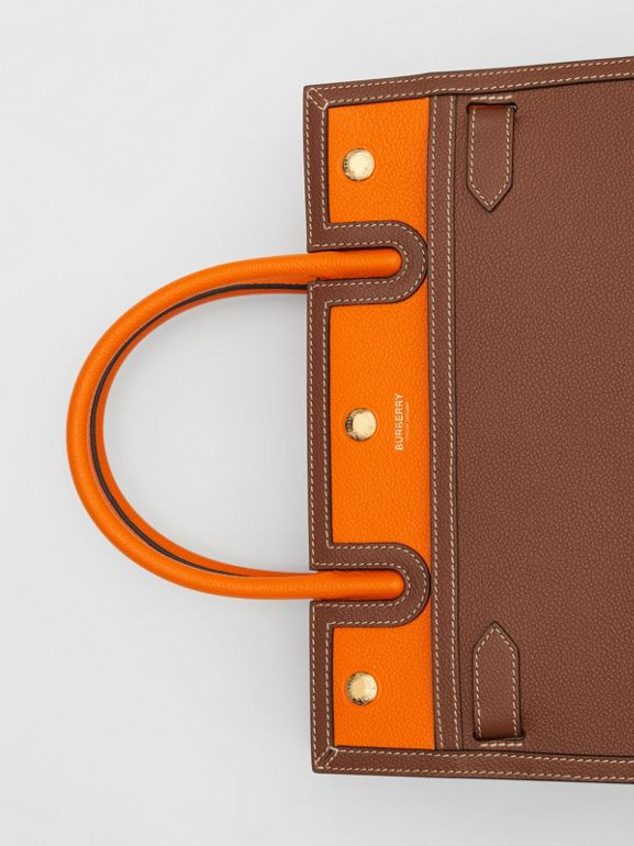 Small Leather Two-handle Title Bag in Tan/bright Orange - Women | Burberry Canada - cell image 1