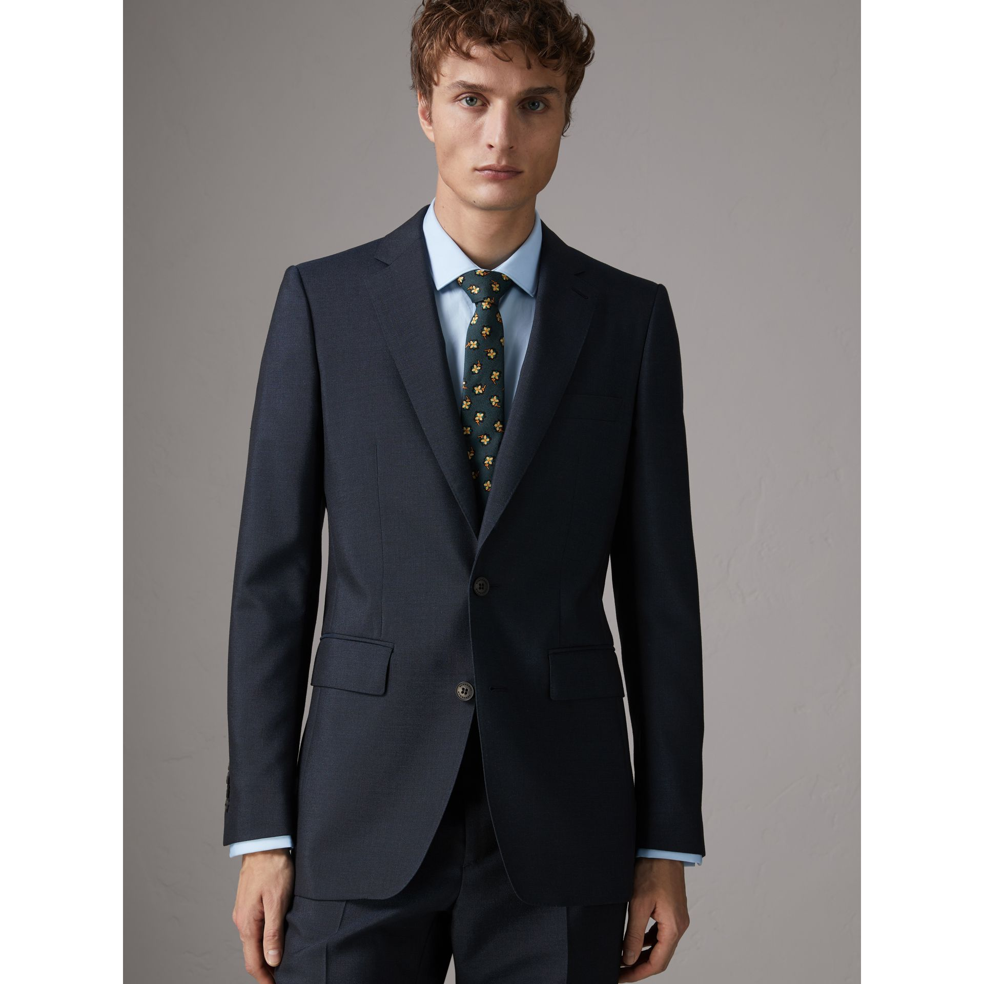 Slim Fit Wool Half-canvas Tuxedo in Navy - Men | Burberry United Kingdom - gallery image 6