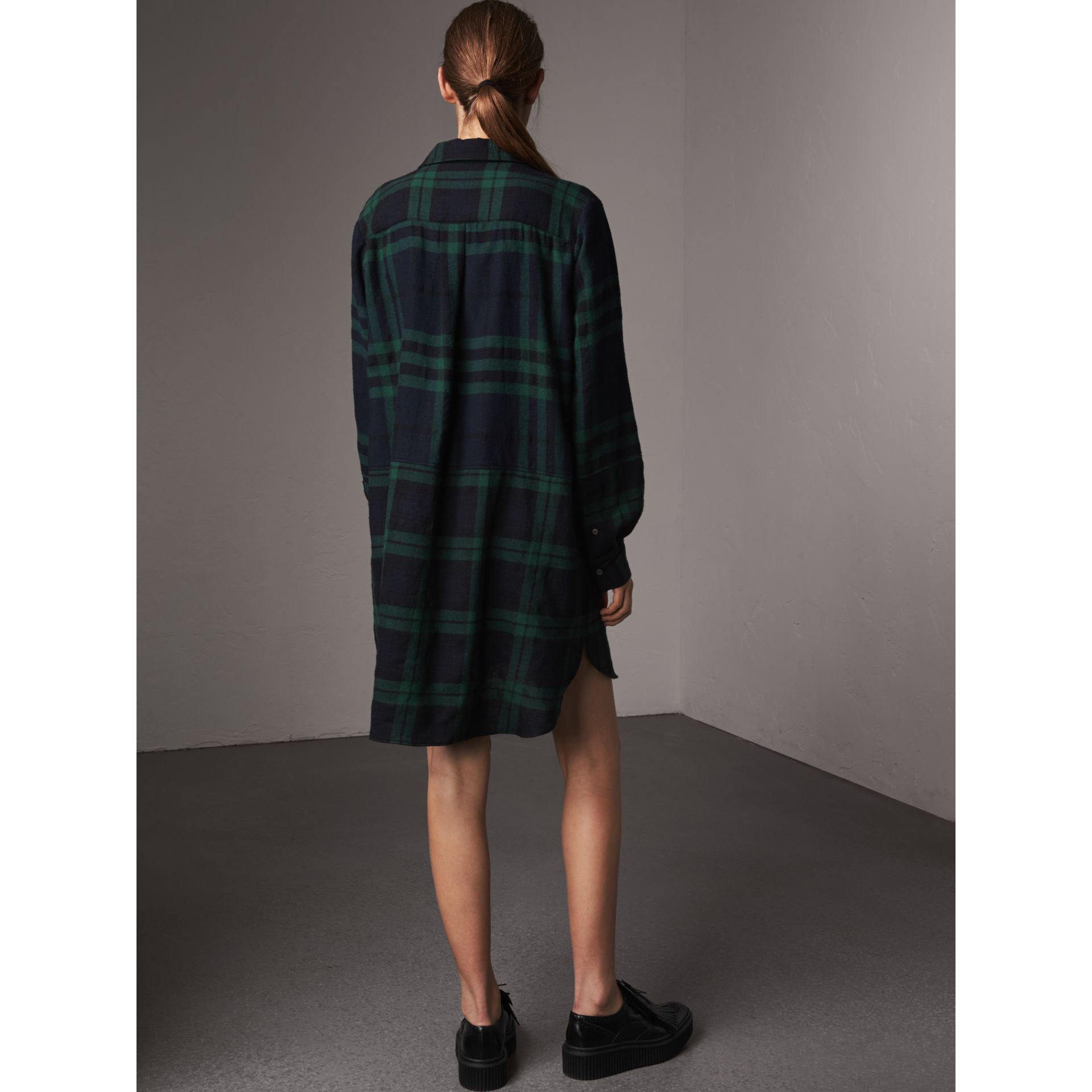 Check Wool Tunic Dress in Navy - Women | Burberry Australia - gallery image 2