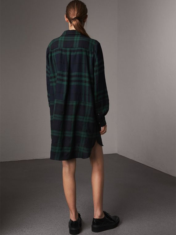 Check Wool Tunic Dress in Navy - Women | Burberry United Kingdom - cell image 2