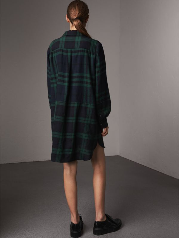 Check Wool Tunic Dress in Navy - Women | Burberry - cell image 2