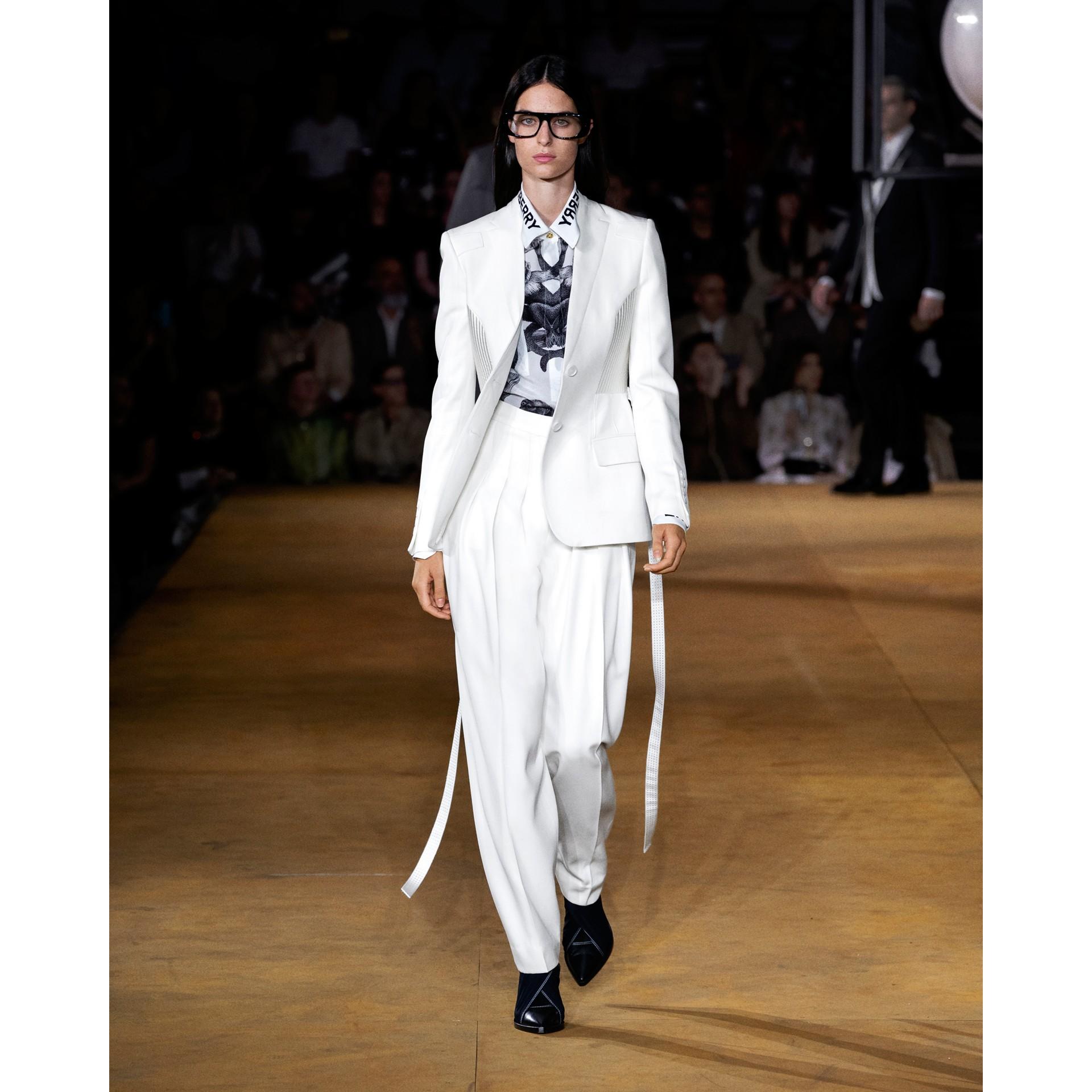 Шерстяные брюки с передними складками (Снег) - Для женщин | Burberry - изображение 3