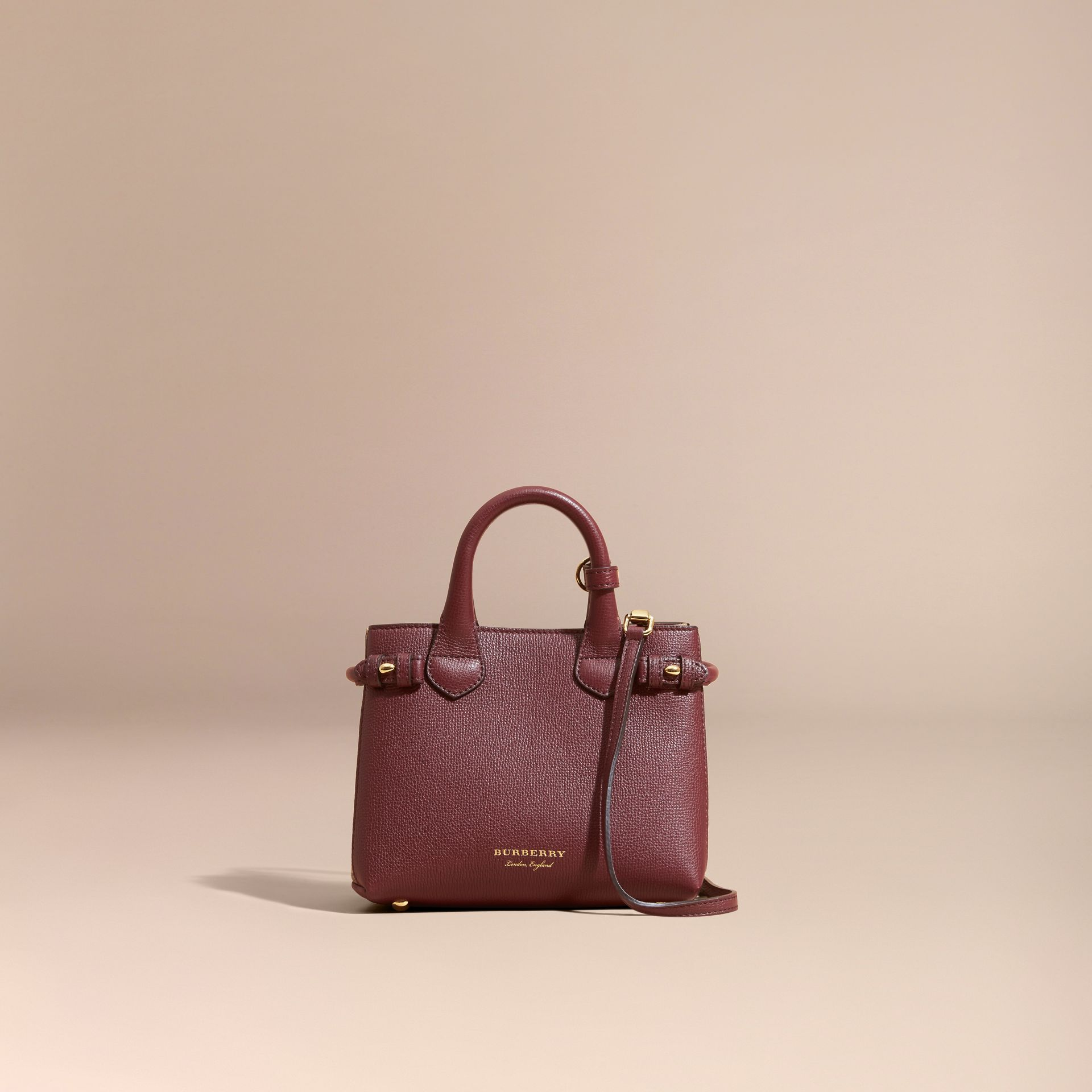 The Baby Banner in Leather and House Check in Mahogany Red - Women | Burberry Canada - gallery image 9