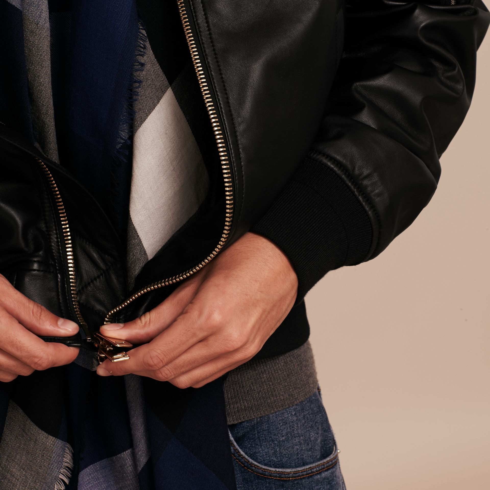 Lightweight Lambskin Bomber Jacket in Black - gallery image 6