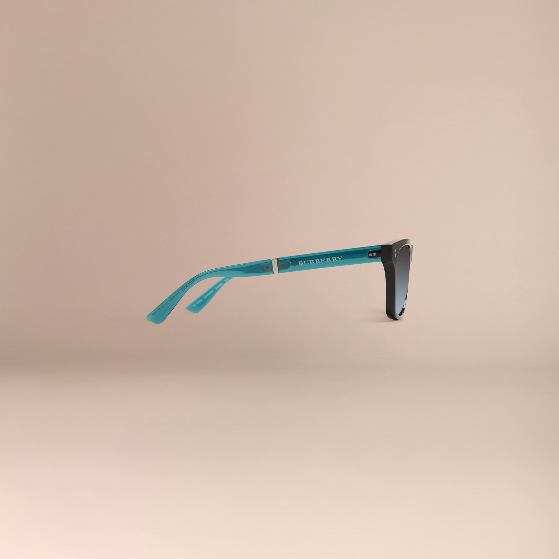 Black Foldable Rectangular Frame Sunglasses - gallery image 7