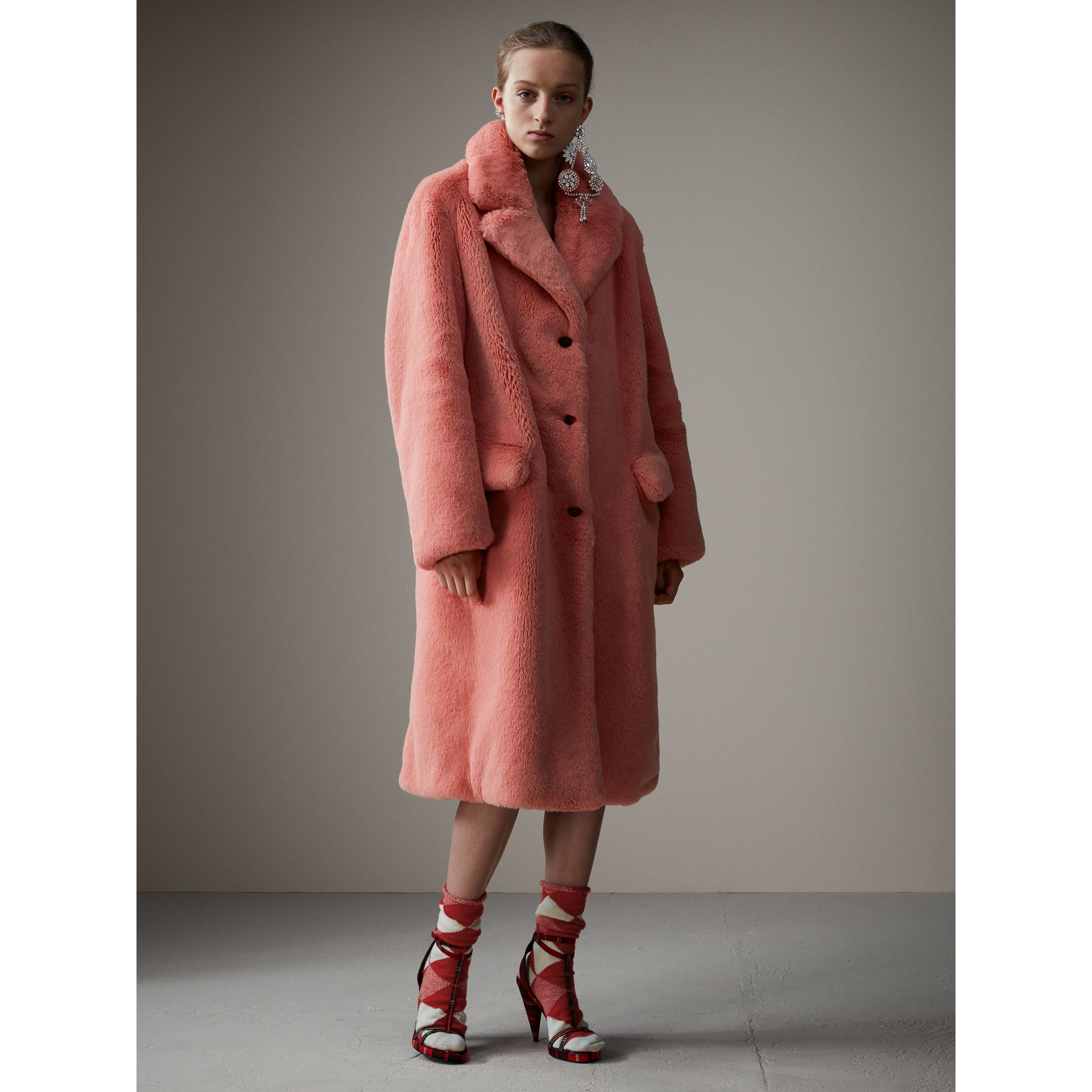Faux Fur Single-breasted Coat in Pale Pink - Women | Burberry - gallery image 6