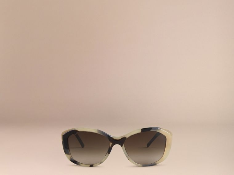Gabardine Lace Collection Square Frame Sunglasses in Mid Tone Horn - cell image 1