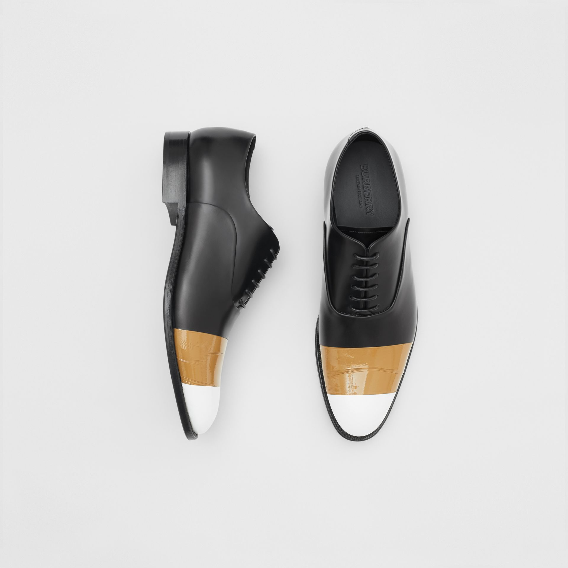 Tape Detail Leather Oxford Shoes in Black/optic White - Men | Burberry - gallery image 0
