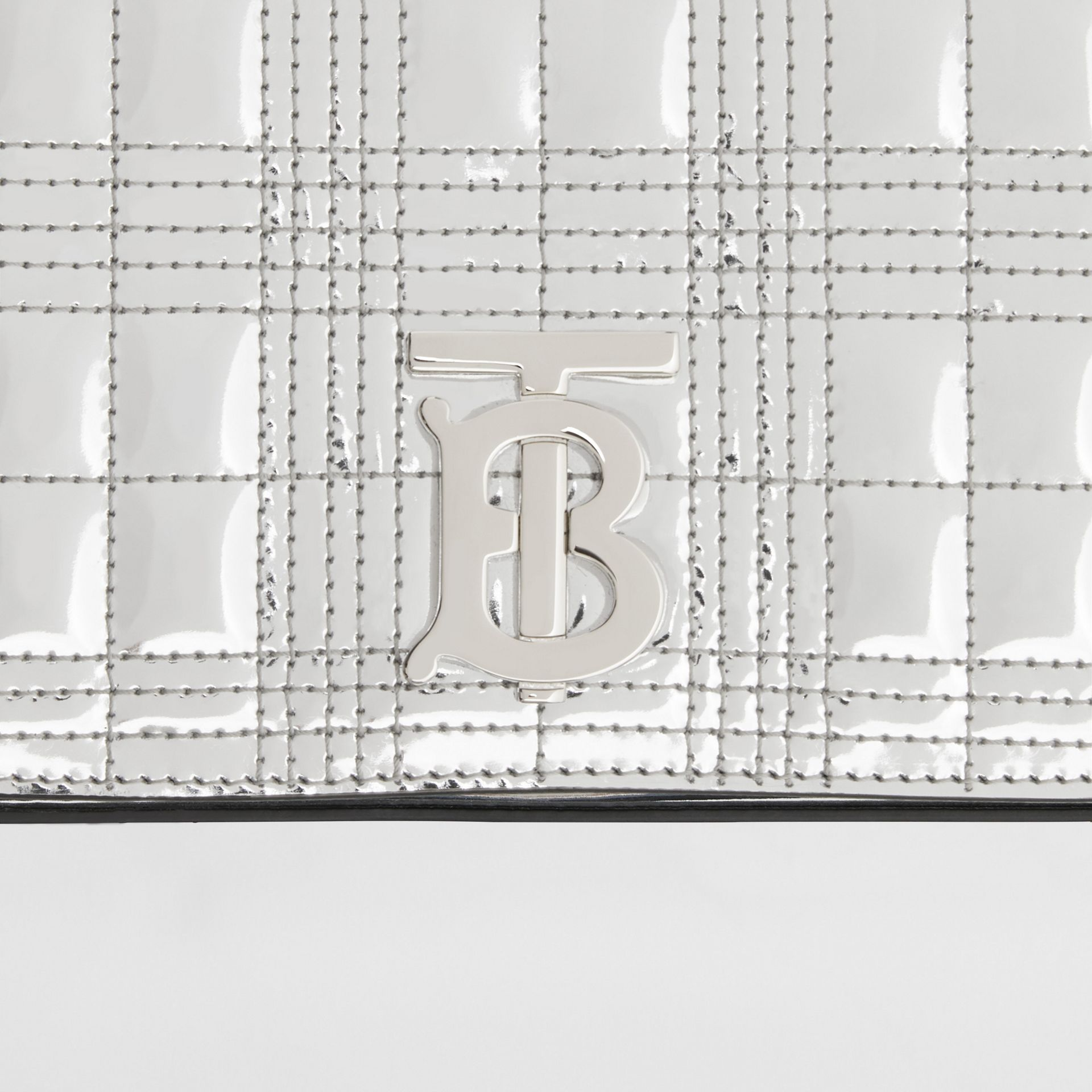 Small Quilted Metallic Leather Lola Bag in Silver - Women | Burberry - gallery image 6