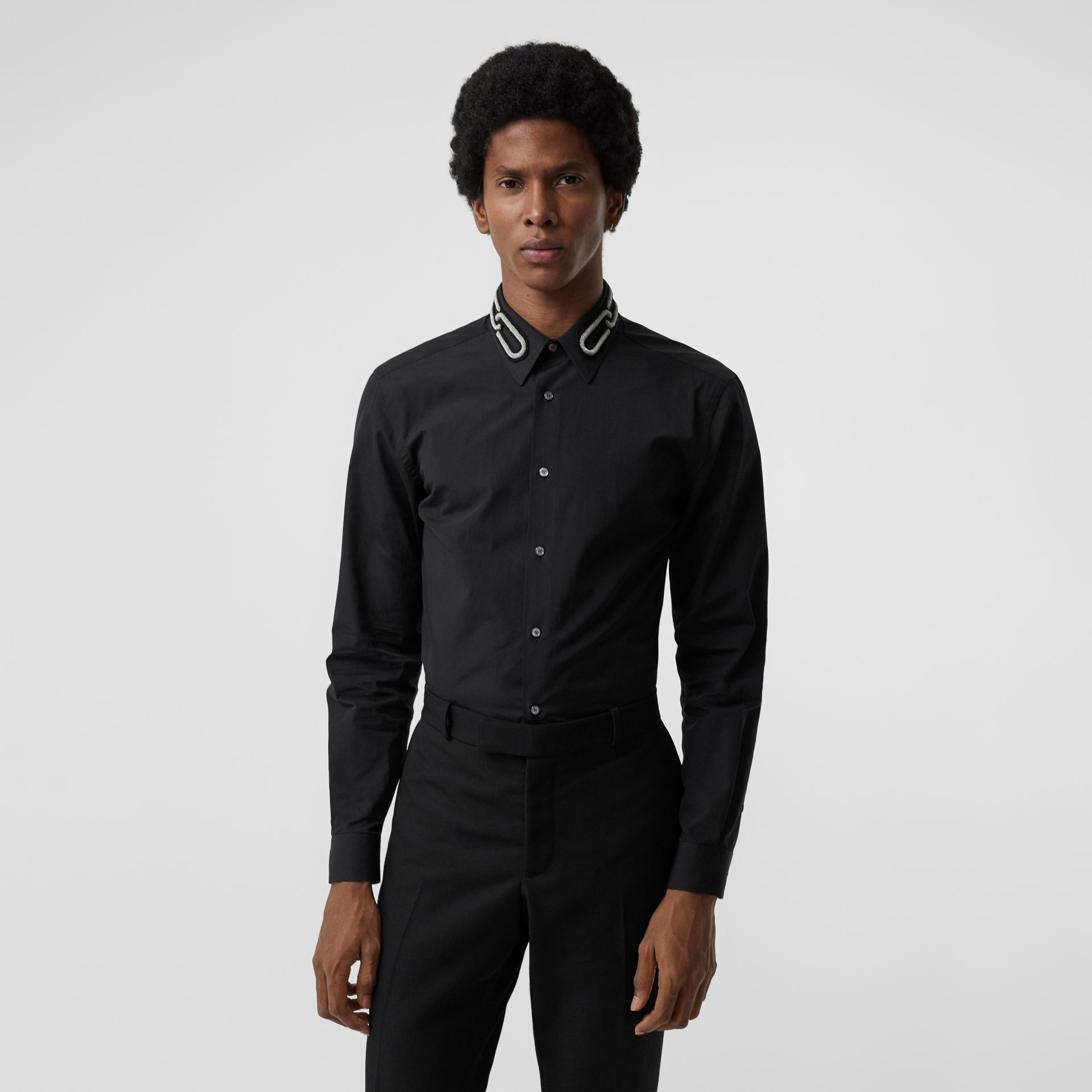 Slim Fit Bullion Link Cotton Poplin Dress Shirt in Black - Men | Burberry United Kingdom - gallery image 0