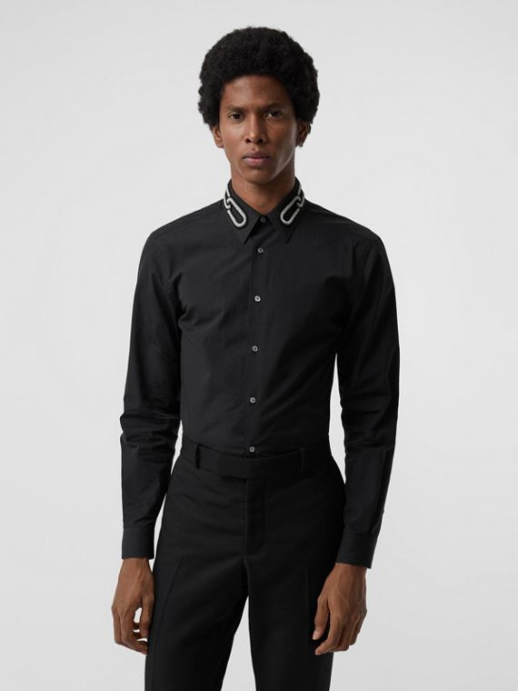Slim Fit Bullion Link Cotton Poplin Dress Shirt in Black