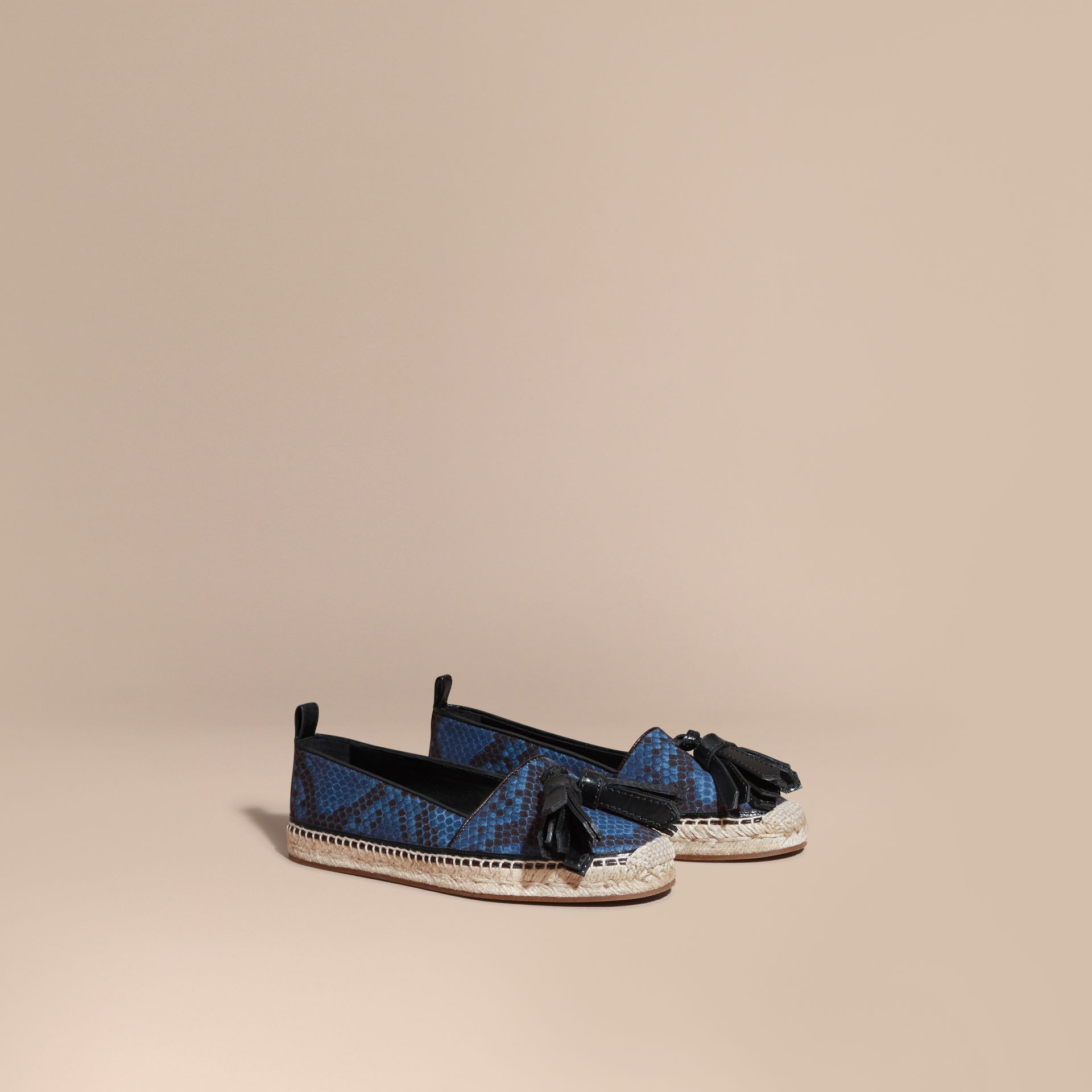 Mineral blue Tasselled Python Print Cotton and Leather Espadrilles Mineral Blue - gallery image 1