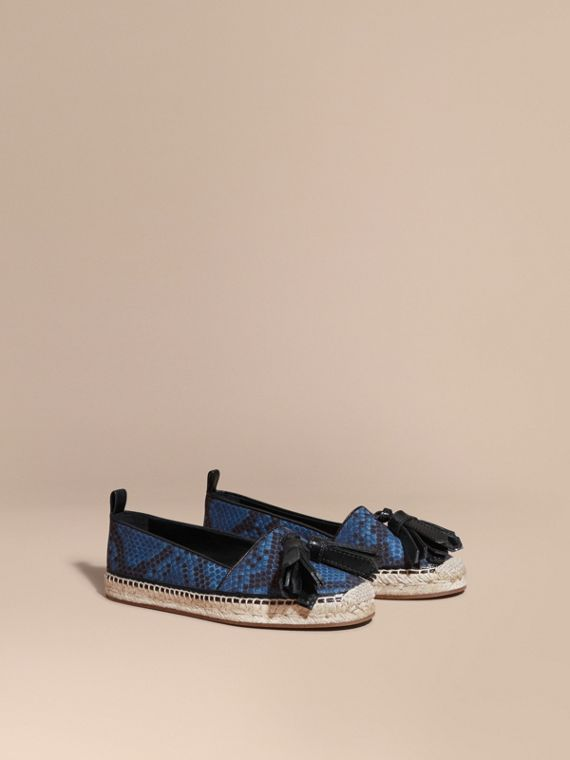 Tasselled Python Print Cotton and Leather Espadrilles Mineral Blue