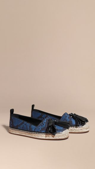 Tasselled Python Print Cotton and Leather Espadrilles