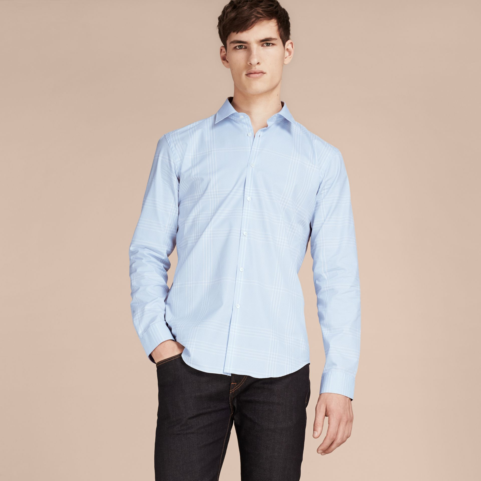 City blue Check Cotton Shirt City Blue - gallery image 6