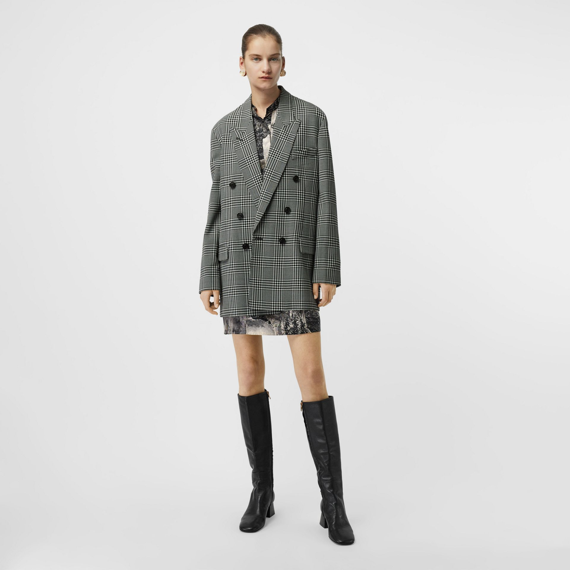 Prince of Wales Check Wool Oversized Jacket in Mist Green - Women | Burberry Singapore - gallery image 0