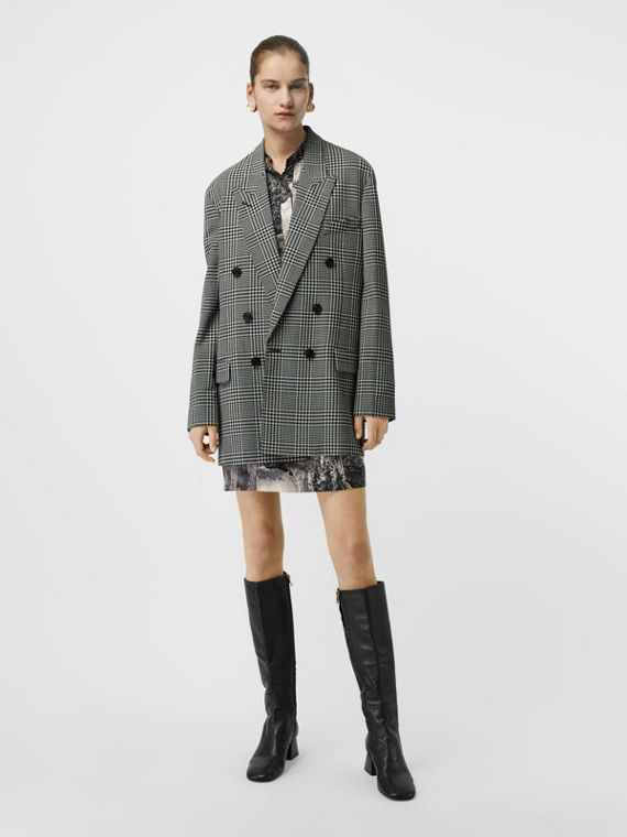 Prince of Wales Check Wool Oversized Jacket in Mist Green