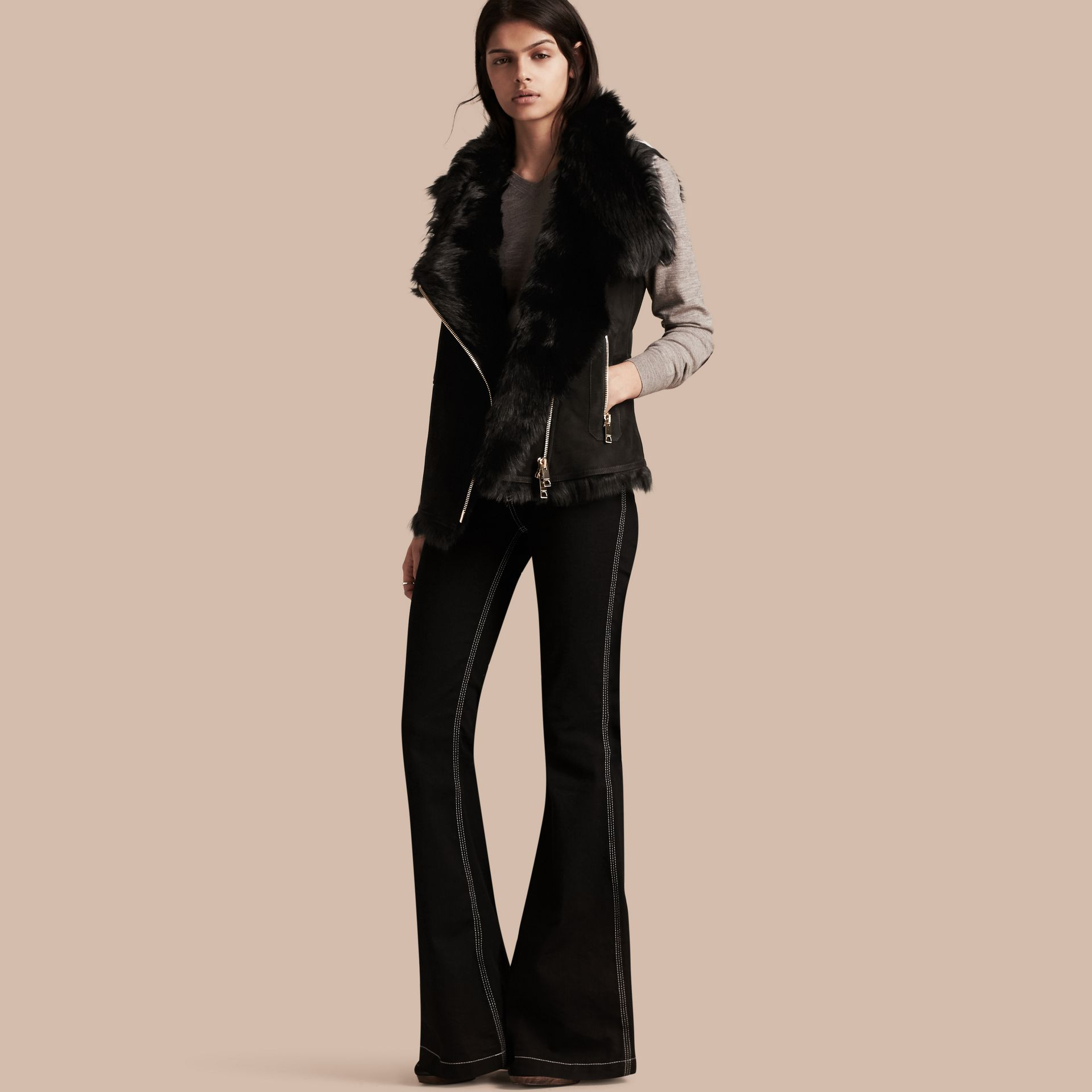 Black Shearling Gilet Black - gallery image 1