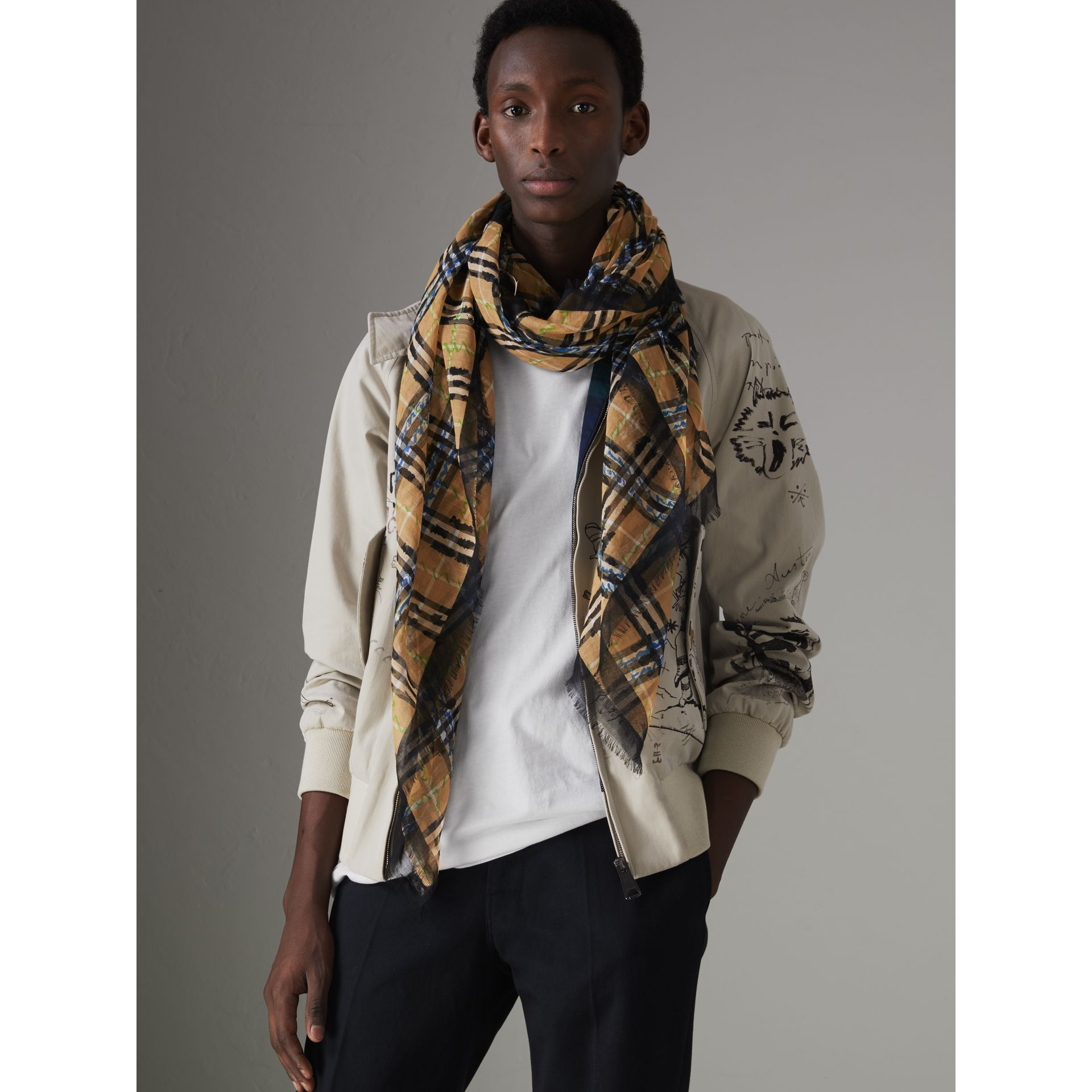 Scribble Check Cotton Large Square Scarf in Antique Yellow | Burberry - gallery image 5