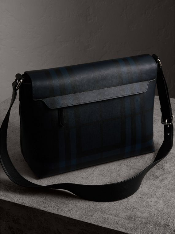 Large London Check Messenger Bag in Navy/black | Burberry - cell image 3