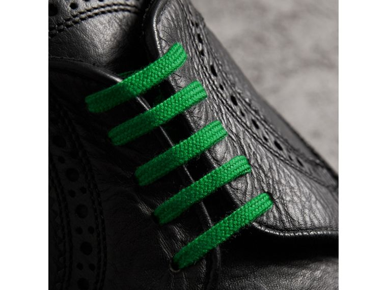 Grainy Leather Brogues with Bright Laces in Black - Men | Burberry - cell image 1