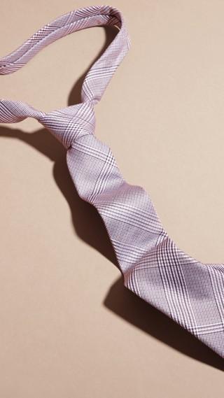 Cravate fine en coton et soie à motif check