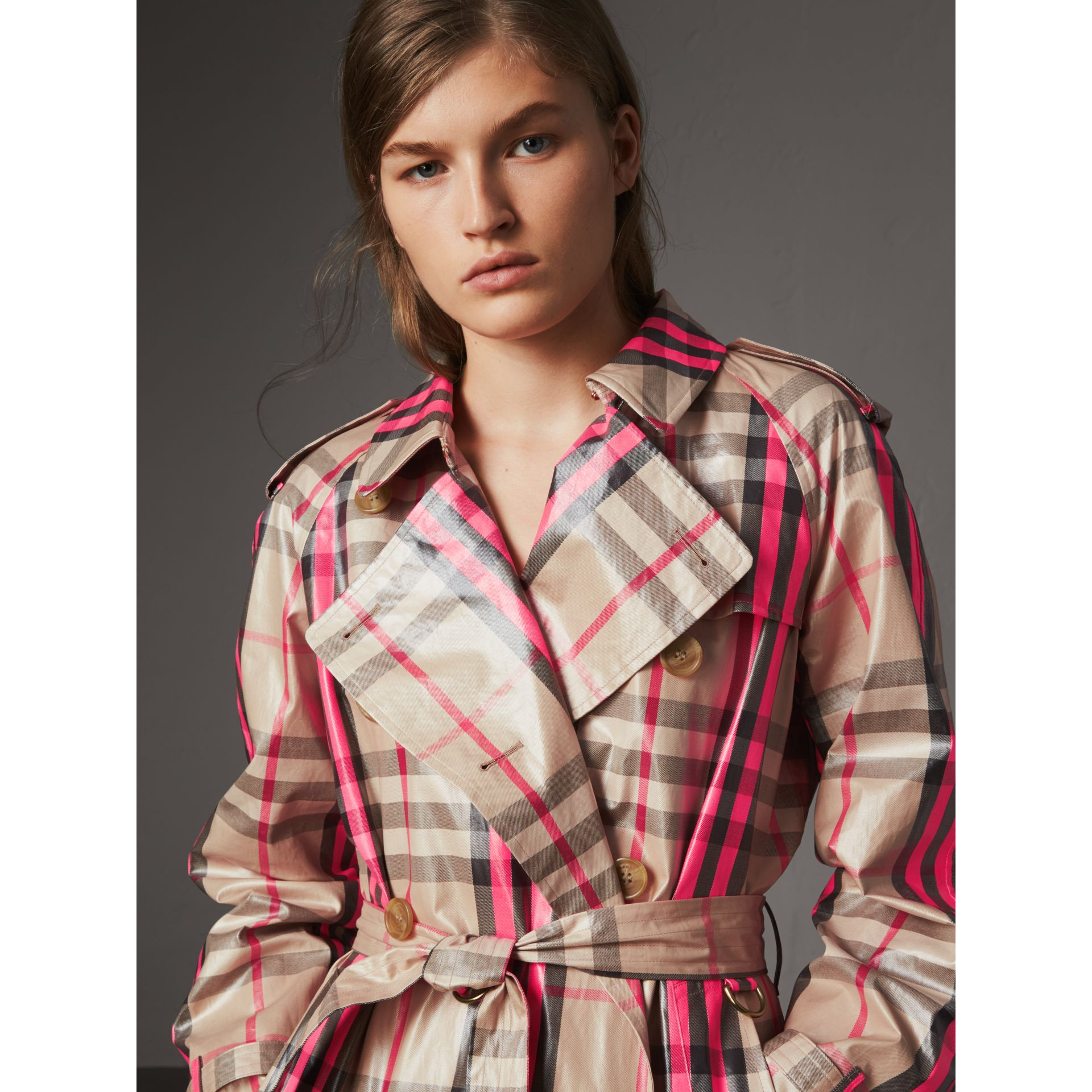 Laminated Check Trench Coat in Neon Pink - Women | Burberry United Kingdom - gallery image 4