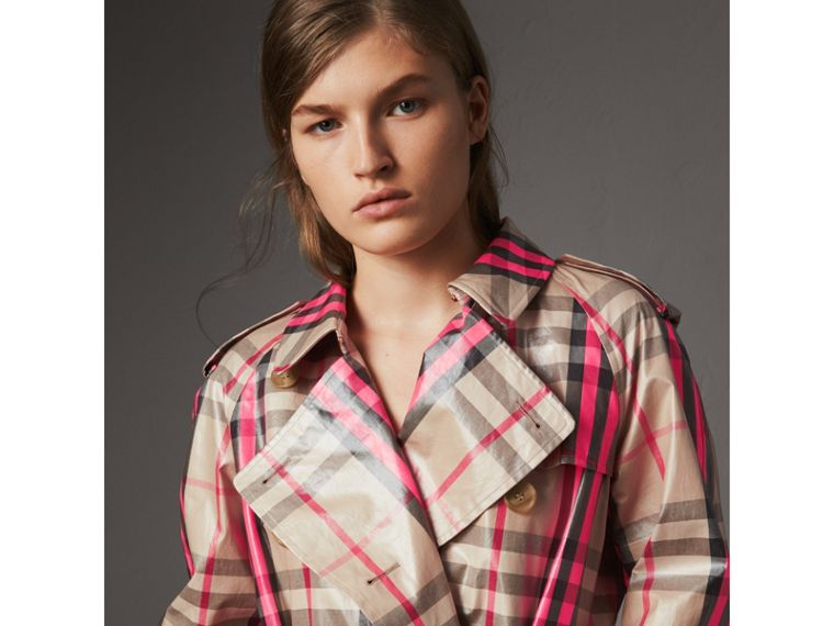 Laminated Check Trench Coat in Neon Pink - Women | Burberry - cell image 4