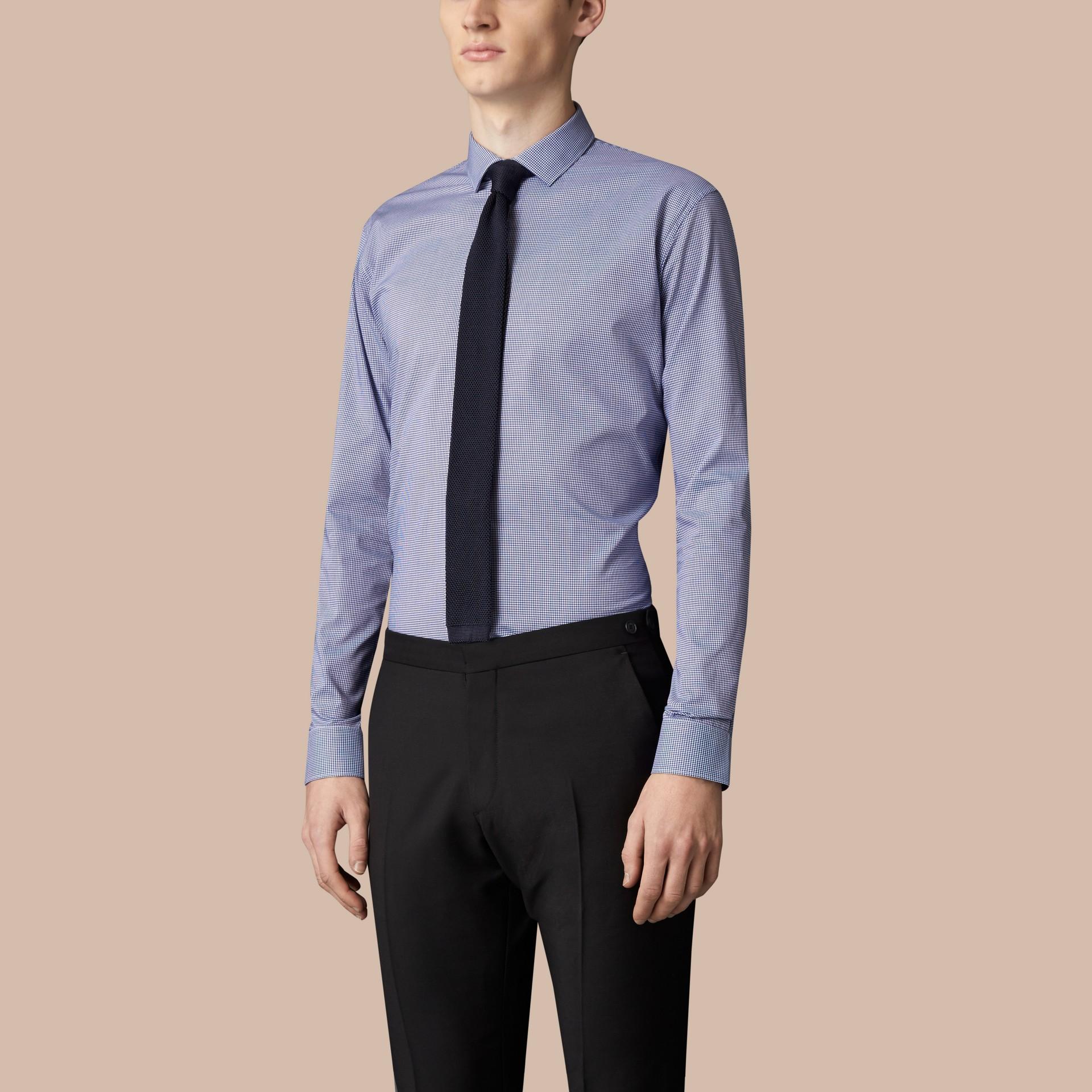 Blu impero scuro Camicia vichy moderna in popeline di cotone Blu Impero Scuro - immagine della galleria 4