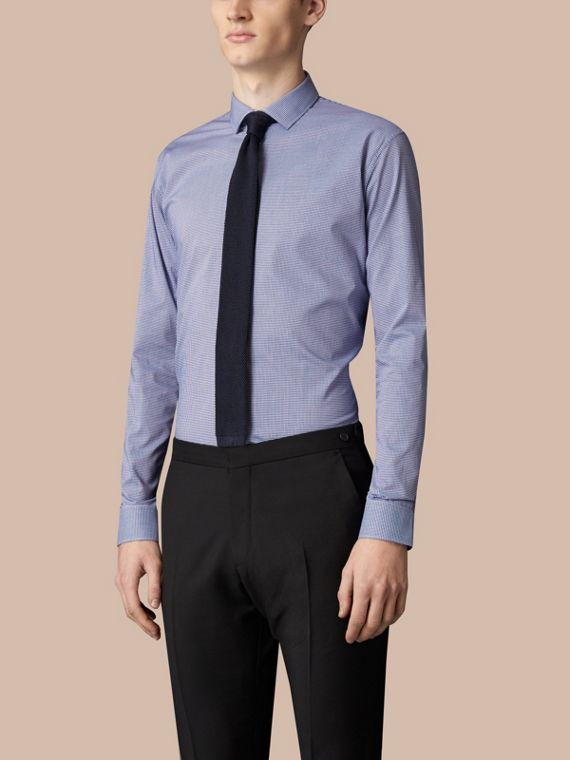Modern Fit Gingham Cotton Poplin Shirt in Dark Empire Blue - cell image 3