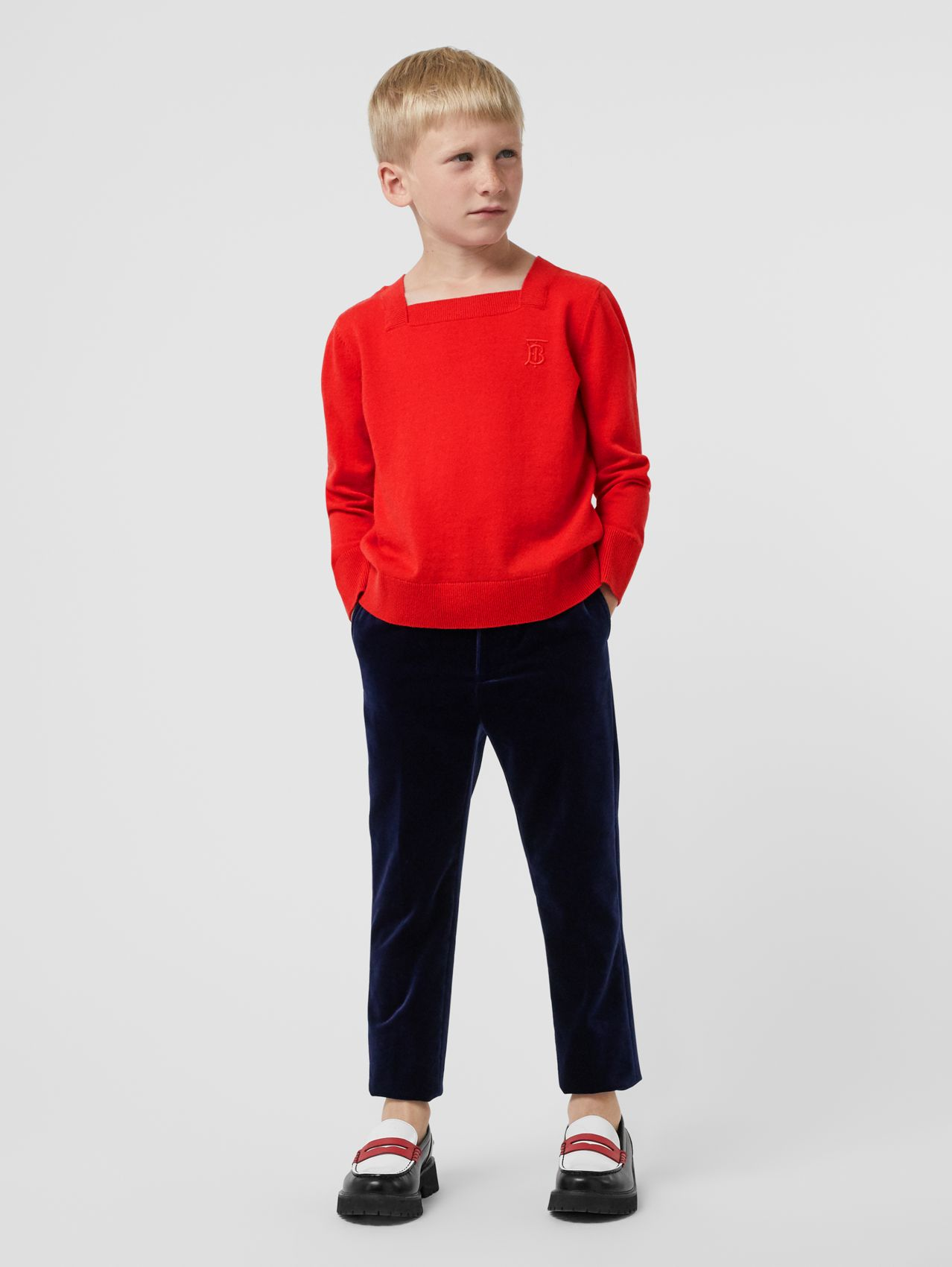Monogram Motif Cashmere Sweater in Bright Red