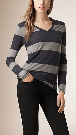 Striped Wool Blend T-shirt
