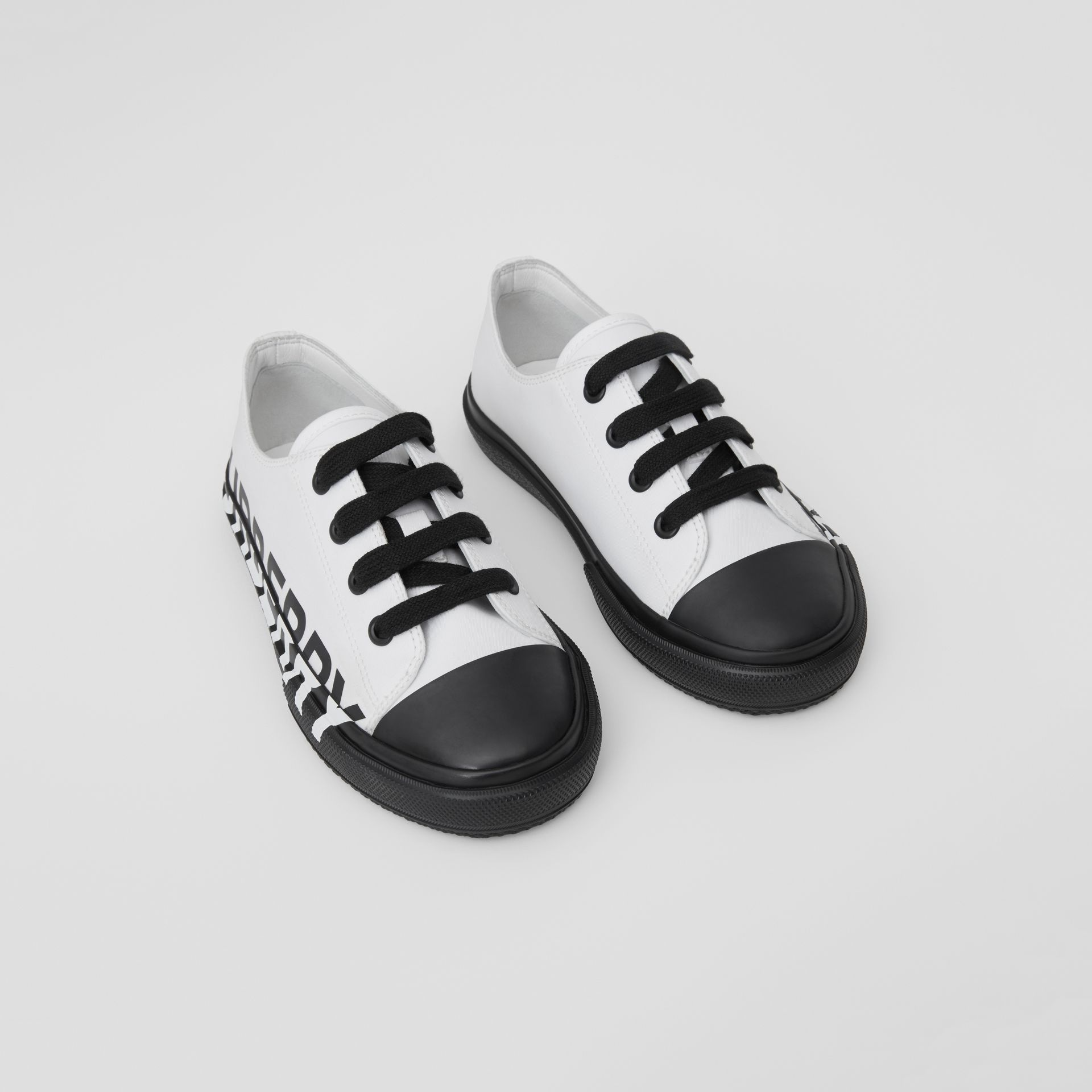 Logo Print Two-tone Cotton Gabardine Sneakers in Optic White/black - Children | Burberry - gallery image 0
