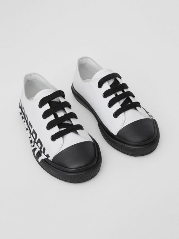 Logo Print Two-tone Cotton Gabardine Sneakers in Optic White/black