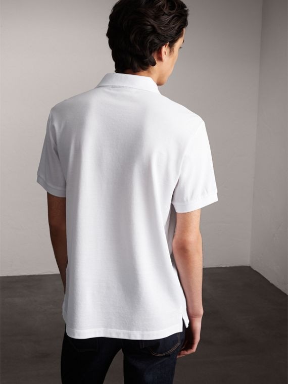 Striped Placket Cotton Piqué Polo Shirt in White - Men | Burberry - cell image 2