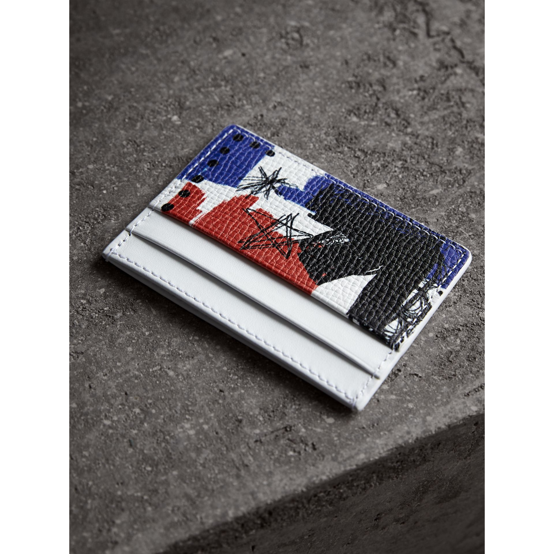 Doodle Print Leather Card Case in Red/blue | Burberry United Kingdom - gallery image 2