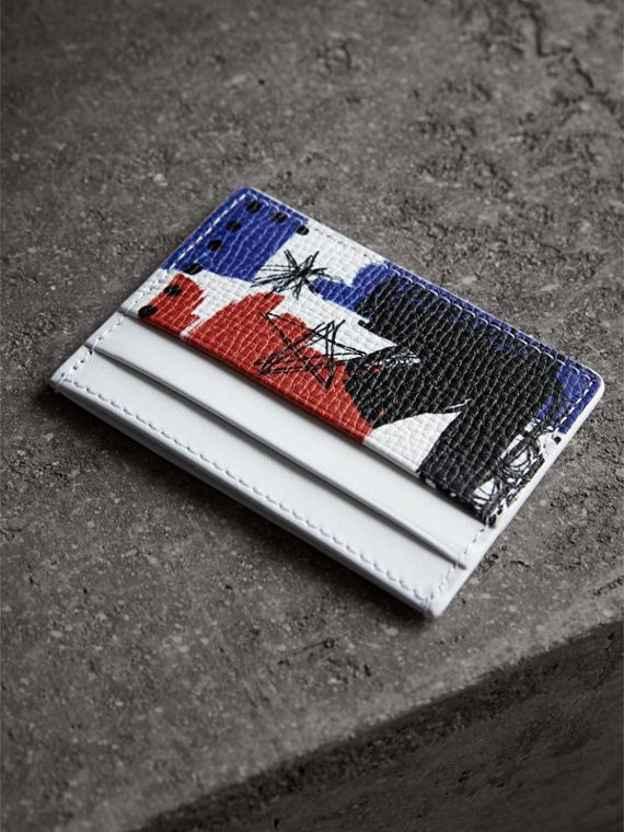 Doodle Print Leather Card Case in Red/blue | Burberry - cell image 2