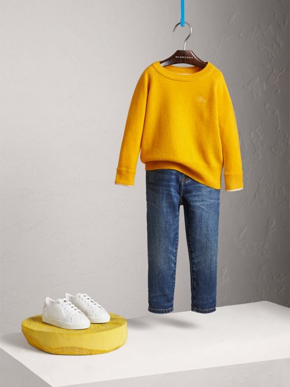 Check Cuff Cashmere Sweater in Amber Yellow - Girl | Burberry